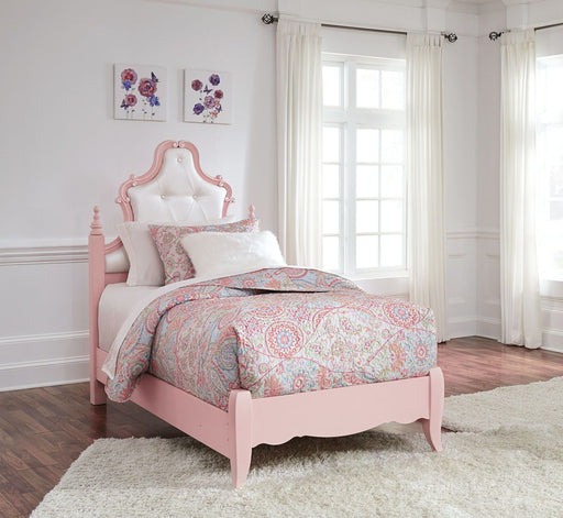 Laddi White/Pink Twin Panel Bed