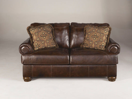 Axiom Walnut Leather Love Seat