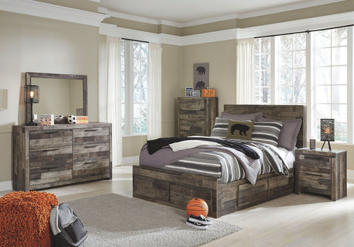 Derekson Multi Gray Full Panel Bed with Storage