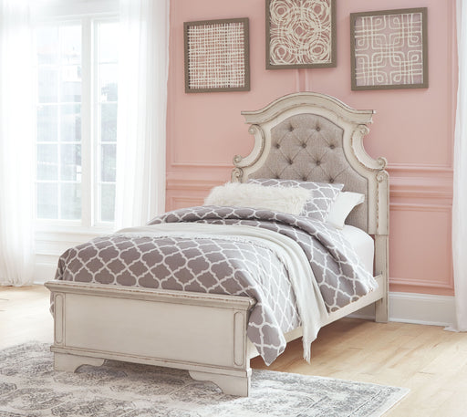 Realyn Chipped White Twin Upholstered Panel Bed