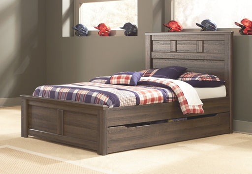 Juararo Dark Brown Full Panel Bed with Trundle Under Bed Storage