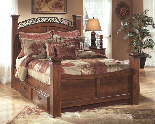 Timberline Warm Brown Queen Poster Bed with Storage