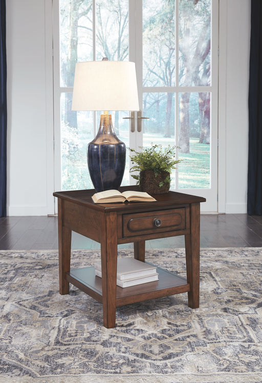 Adinton Reddish Brown Rectangular End Table