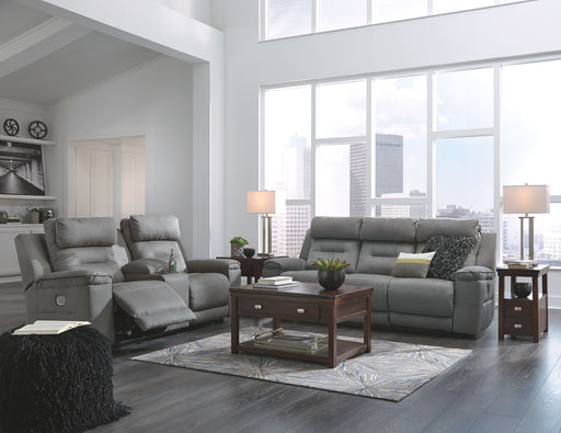 Trampton Smoke Power Reclining Sofa and Loveseat with Adjustable Headrests