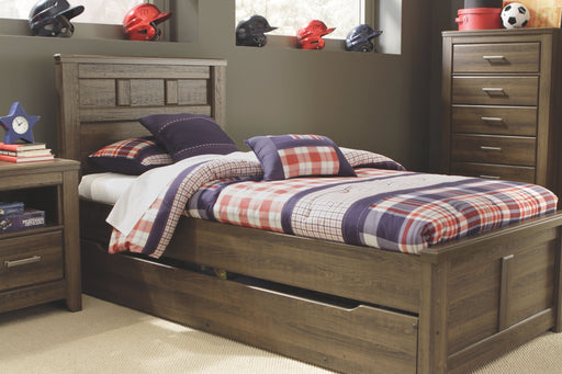 Juararo Dark Brown Twin Panel Bed with Trundle Under Bed Storage