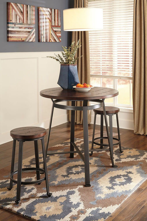 Challiman Rustic Brown 3 Piece Round Dining Room Set