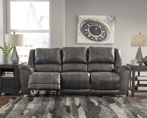 Persiphone Charcoal Leather Power Sofa