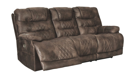 Welsford Walnut Power Reclining Sofa with Adjustable Headrest