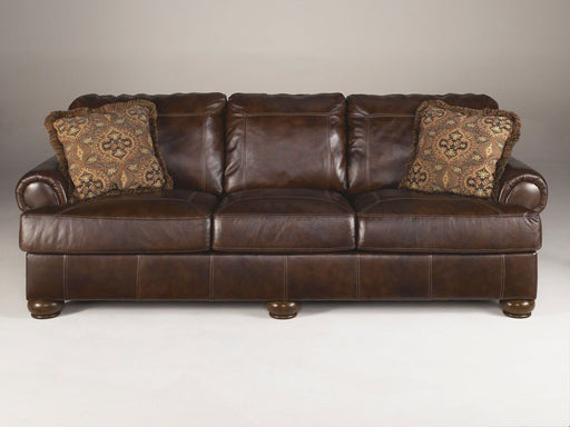 Axiom Walnut Leather Sofa