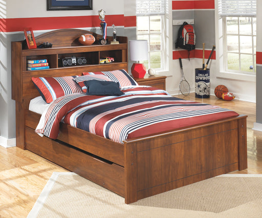 Barchan Medium Brown Full Bookcase Bed with Trundle Under Bed Storage
