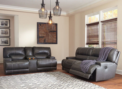 McCaskill Gray 2 Seat Reclining Sofa & Reclining Loveseat with Console