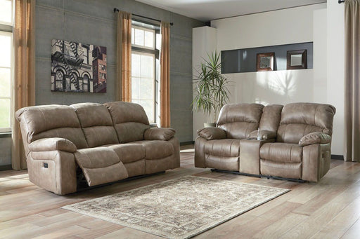Dunwell Driftwood Power Reclining Sofa and Loveseat with Adjustable Headrests
