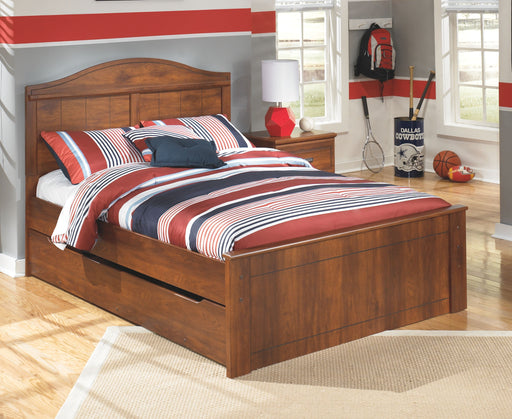 Barchan Medium Brown Full Panel Bed with Trundle Under Bed Storage