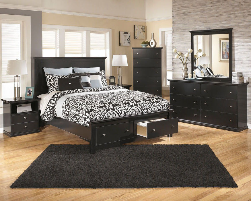 Maribel Black 5 Piece Queen Bedroom Set Bdhomedecor