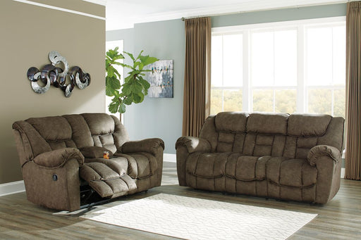 Capehorn Earth Reclining Sofa & Reclining Loveseat with Console