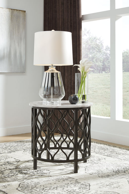 Trinson Gray/Black Round End Table