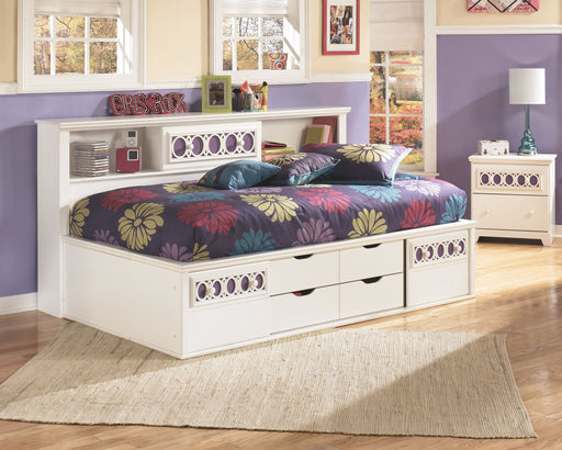 Zayley White Twin Bookcase Bed with Storage