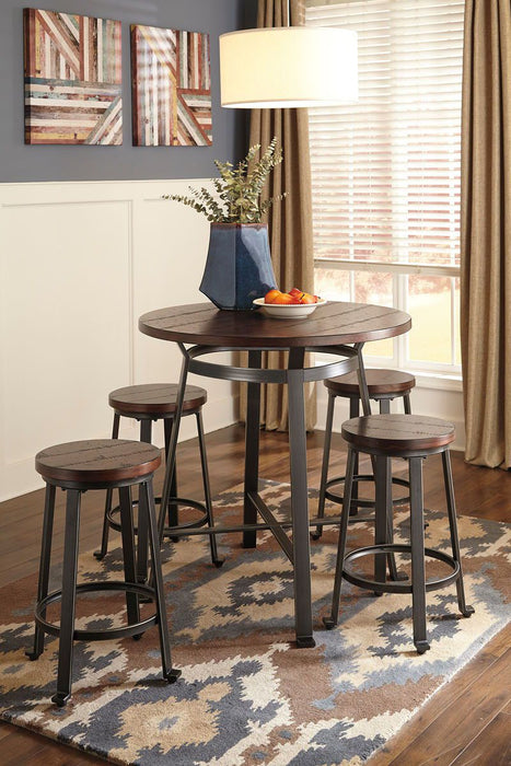 Challiman Rustic Brown 5 Piece Dining Room Set