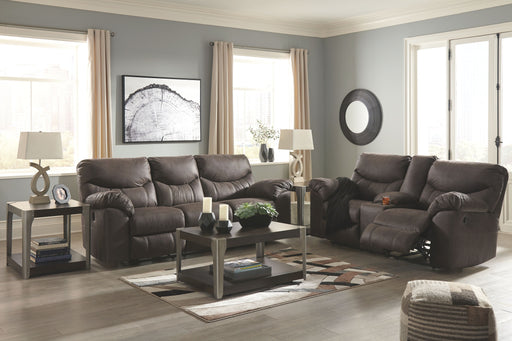 Boxberg Teak Reclining Power Sofa & Reclining Power Loveseat with Console