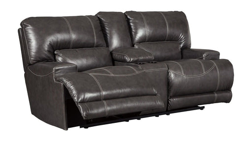 McCaskill Gray Leather Love Seat
