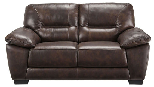 Melllen Walnut Leather Love Seat
