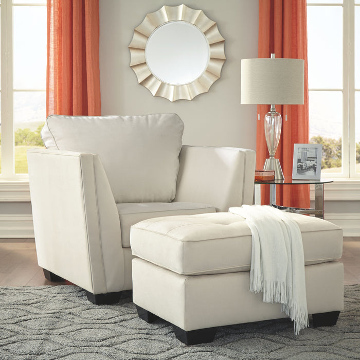Filone Ivory Chair with Ottoman