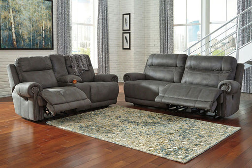 Austere Gray 2 Seat Reclining Power Sofa & Reclining Power Loveseat with Console