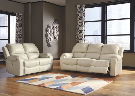 Rackingburg Cream Reclining Power Sofa & Reclining Power Loveseat