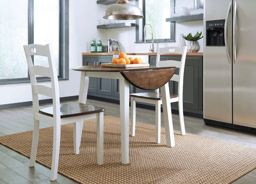 Woodanville White/Brown 3 Piece Round Dining Set