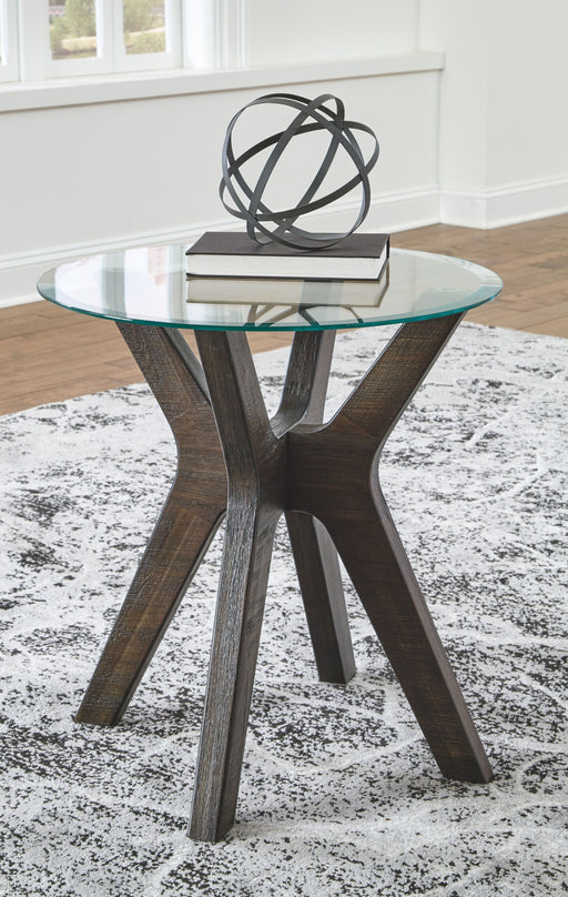 Zannory Gray Round End Table