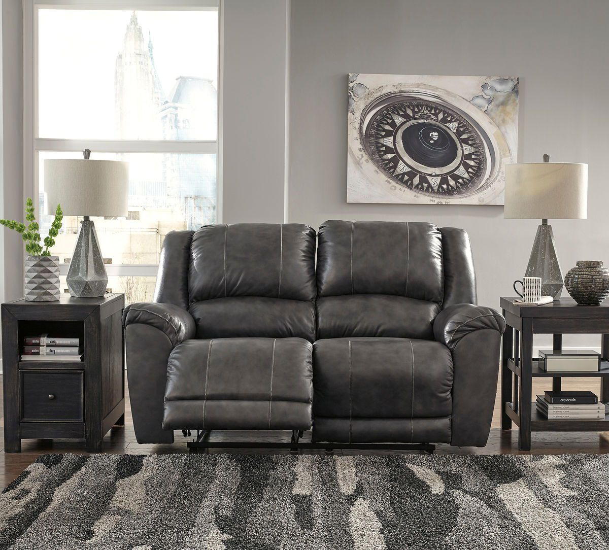 Persiphone Charcoal Leather Power Love Seat