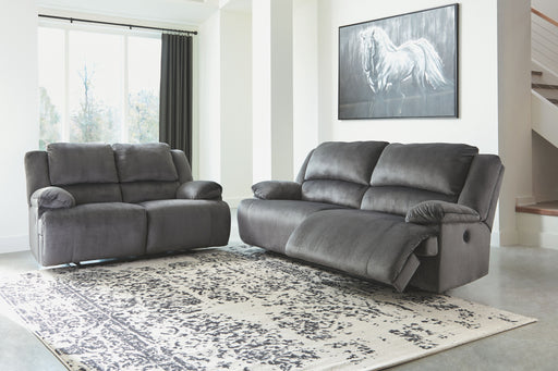 Clonmel Charcoal 2 Seat Reclining Power Sofa & Reclining Power Loveseat