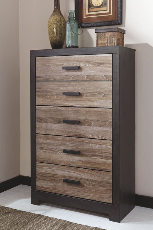 Harlinton Warm Gray/Charcoal Five Drawer Chest