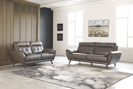 Sissoko Gray Leather 2 Piece Living Room Set