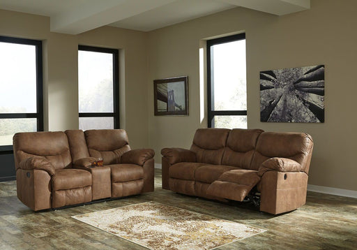 Boxberg Bark Reclining Power Sofa & Reclining Power Loveseat with Console
