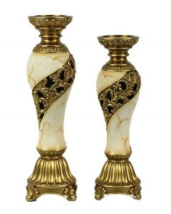 Candida Design Two Piece Hurricane Candlestick Set