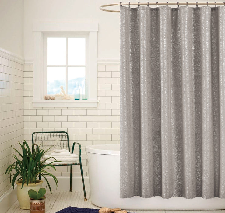 SADIE PRINTED METALLIC SHOWER CURTAIN GRAY SILVER