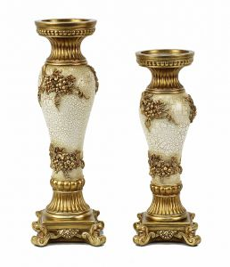 Andreas Design Two Piece Hurricane Candlestick Set