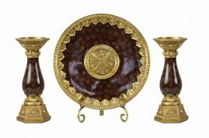 Paoletta Collection Four Piece Charger Stand and Two Candlestick Set