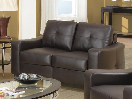 Jasmine Dark Brown Leather Loveseat