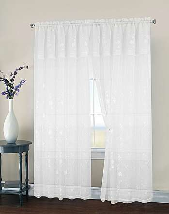 Malta Embroidered Sheer Rod Pocket Panel with Attached Valance