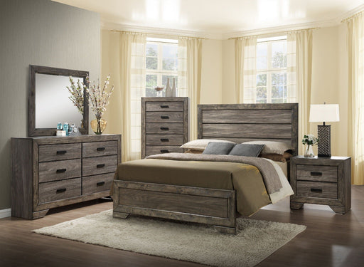 Nathan Gray Oak Finish 4 Piece Queen Bedroom Set