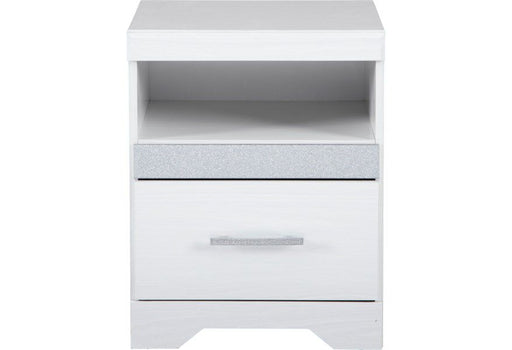 Jallory Gloss White One Drawer Nightstand