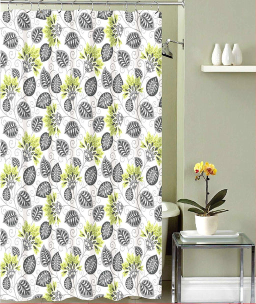 REHANA CANVAS SHOWER CURTAIN & 12 METAL ROLLER HOOKS