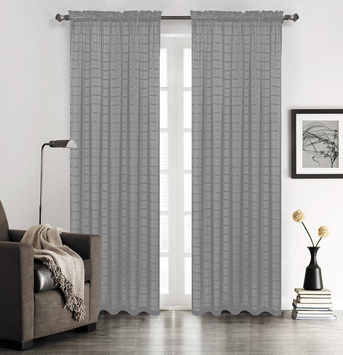"Lily Plaid 90"" Sheer Panel"