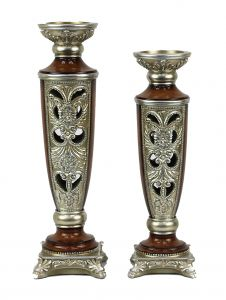 Allessandra Design Two Piece Hurricane Candlestick Set