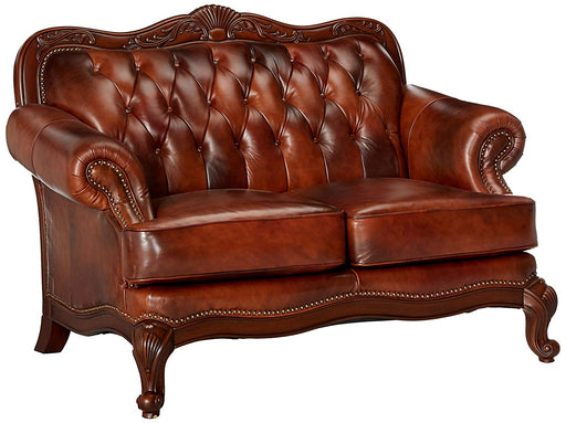 Victoria Warm Brown Leather Loveseat