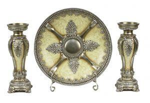 Ivoria Collection Four Piece Charger Stand and Two Candlestick Set