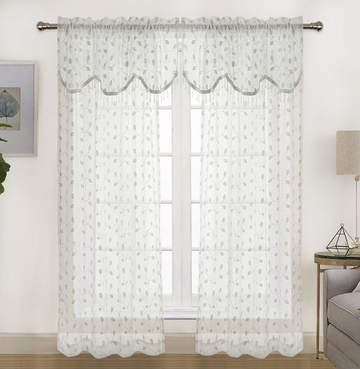 Adler Embroidered Rod Pocket Window Valance