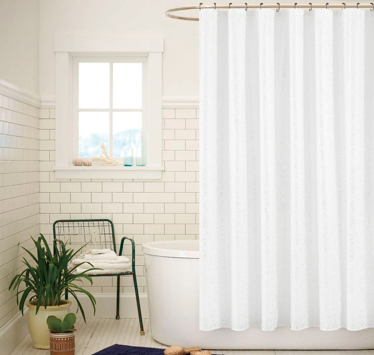 SADIE PRINTED METALLIC SHOWER CURTAIN WHITE SILVER